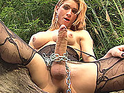 Shemale domme force feeds her slave cock