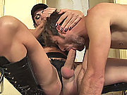 Two big cock shemales force feeding a guy
