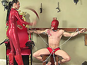 Shackled slave gets his ass destroyed